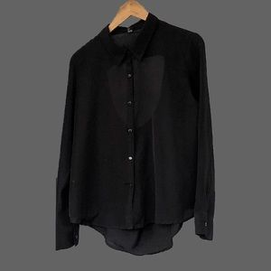High low button down with back keyhole